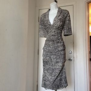 Nicole Miller Black & White Ruched Dress